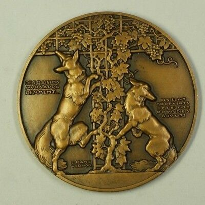 Fontaine Bronze - Large Bronze Medal French Fables of Fontaine Wolves Jean Vernon Monnaie Paris N