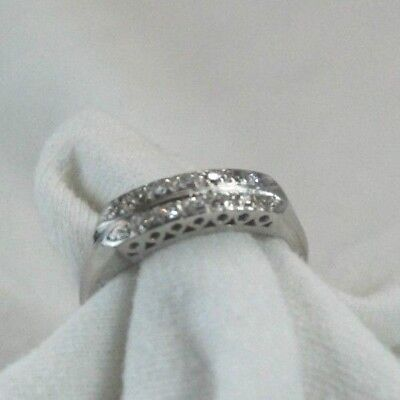 LADIES VINTAGE DOUBLE ROW PLATINUM & DIAMOND ANNIVERSARY - Diamond Platinum Vintage Bands