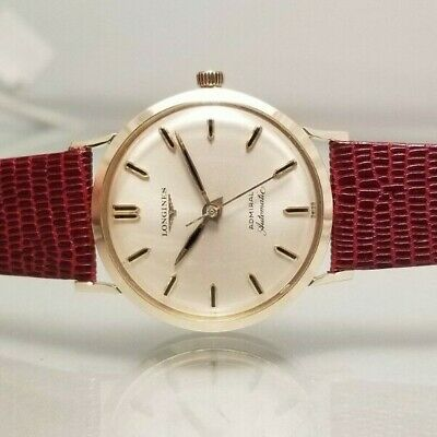 LONGINES VINTAGE ADMIRAL 14K SOLID GOLD 1200 AUTOMATIC GENTS  WATCH 1963