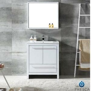 "NEW FRESCA 30"" ALLIER VANITY COMBO WHITE GLOSSY CABINET, VANITY TOP AND MIRROR - BATH BATHROOM FURNITURE DECOR"