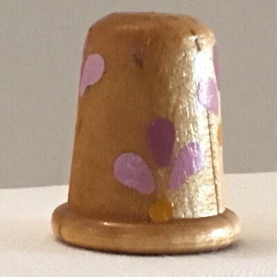 Collectible Thimble, Wooden, with Purple Flowers All Around and Lines