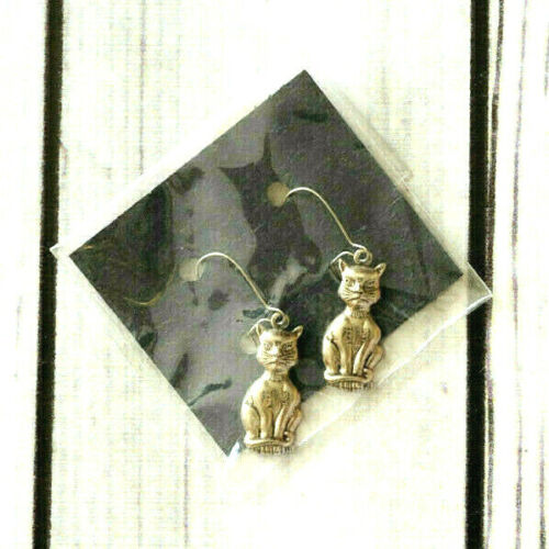 new vintage silver tone cat pierced drop earrings