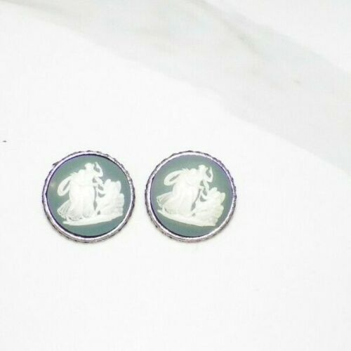 VINTAGE BLUE WITH IVORY COLOR CAMEO INCOLAY STONE CUFF LINKS GOLDTONE ROUND