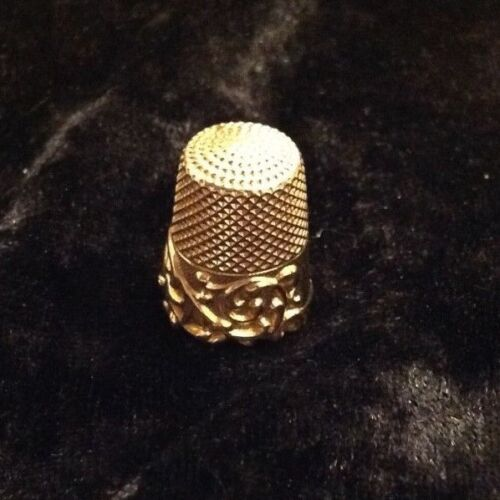 Antique Victorian Vintage 14k Yellow Gold Ornate Sewing Thimble