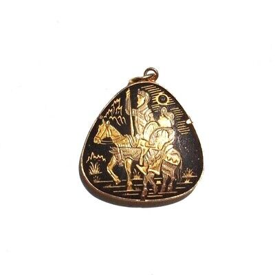 Vintage 2 Men On Horses Inlaid Etched Metal Costume Jewelry Necklace Pendant - 2 Man Horse Costume