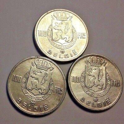 ===>> Lot 3 x 100 Francs Frank 4 rois Leopold III Belgique Belgïe SUP coin <<===