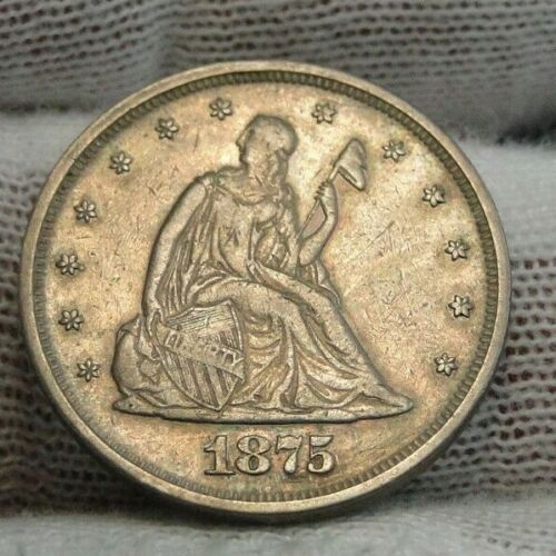 1875 Twenty Cent Piece 20 Cents -  37,000 Minted, Nice Coin, Free Shipping(8881)
