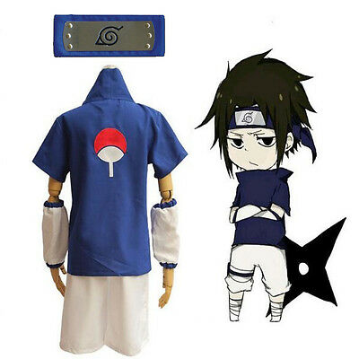 Athemis Naruto Uchiha Sasuke Cosplay Costume and blue headband Custom Made Sets](Sasuke Costumes)