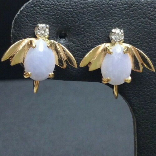 14k Vintage Lavender Jade Jadeite  Diamond Insect Bee  Earrings