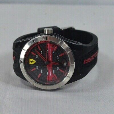 SCUDERIA FERRARI • Black DIAL Black RUBBER Adjustable BAND • MENS WATCH