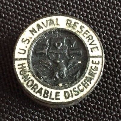 Vintage WWII U.S. Military Naval Reserve Honorable Discharge Lapel Button Pin