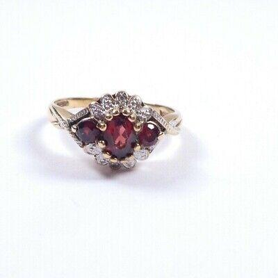 Garnet and diamond  ring 9 carat gold vintage size P1/2 2.4grams