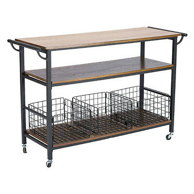 Kitchen Islands on Wheels Portable Large Rustic Industrial Coffee Bar Cart Party
