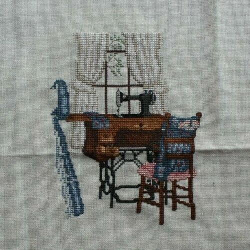 """Paula Vaughan """"The Upstairs Sewing Room"""" Cross Stitch Partialy Complete Finished"""