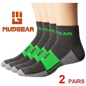 2PR NEW MUDGEAR SOCKS MEN'S 10-13 - 112971708 - 2 PAIRS - UNISEX WOMEN'S SIZE 11-13 - GRAY/GREEN - TRAIL RUNNING SOCKS
