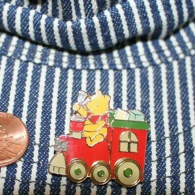 Vintage Disney WINNIE the POOH on Red Train PIN Holiday Christmas Enamel