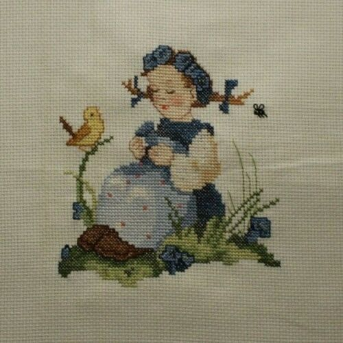 Hummel Girl With Blue Flowers and Birds Cross Stitch Completed Finished