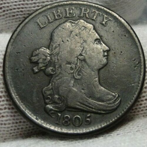 1805 Draped Bust Half Cent, Nice Coin, Free Shipping  (8914)