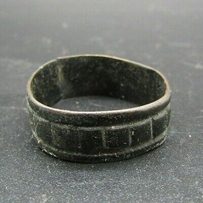 English Medieval band ring with incised decoration