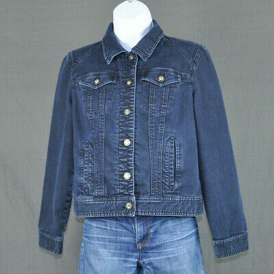 Chico's Platinum Womens Jean Jacket Blue Denim Stretch Chicos Sz 0 (Sz 4 Small)