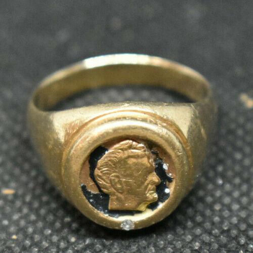 Vintage JOHN DEERE SERVICE AWARD RING SIZE  11-3/4 - 10K GOLD 15g 1 DIAMOND