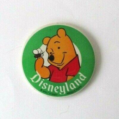 Disneyland Walt Disney Productions Big Round Vintage Pin Pooh Bear Metal Plastic