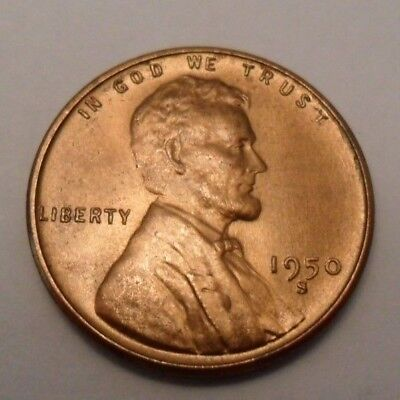 1950 S Lincoln Wheat Cent   Penny Coin    Fine Or Better     Free Shipping