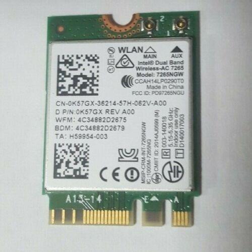 Lot of 2 Intel Dual Band Wireless AC 7265 WLAN WiFi Bluetooth Card 7265NGW K57GX