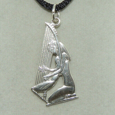 Sterling Silver Egyptian Harp Player Pendant  -