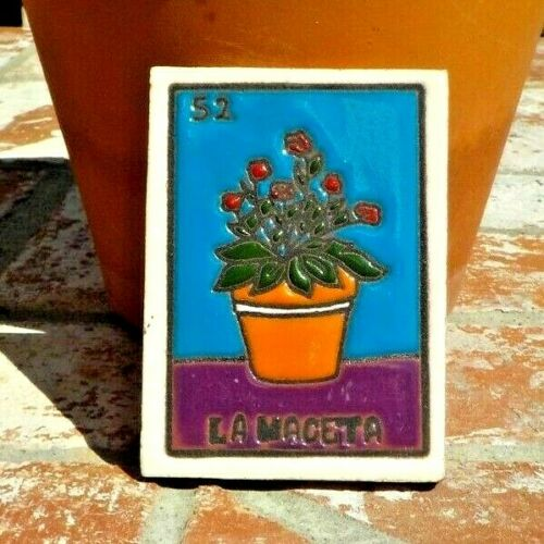 LA MAGETA PLANT LOTERIA RED CLAY TILE 3 IN x 4 IN  MEXICO WITH FREE SHIPPING