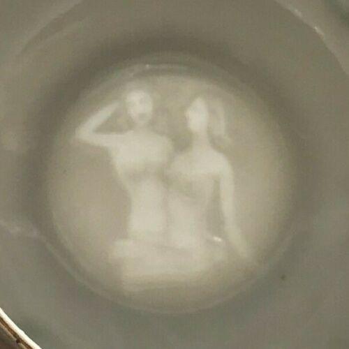 Vintage Wales Moriage Dragonware Demitasse Cup & Saucer Lithopane Nude Geisha
