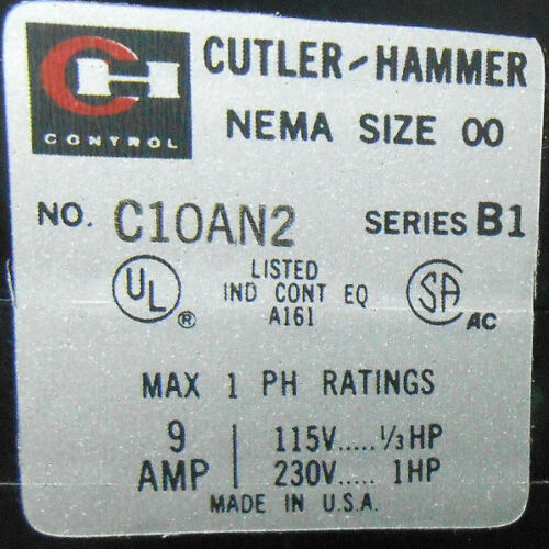CI0AN2C SERIES B1 CUTTLER AND HAMMER MAGNETIC CONTACTOR 460 VOLTS/ 6 HERTZ NOS