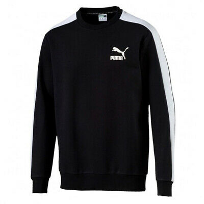 Puma Classics Mens T7 Logo Fleece Sweatshirt Tape Jumper Black 576331 01