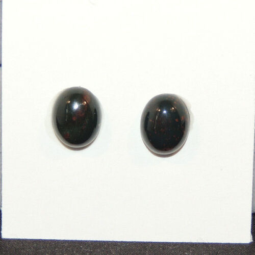 Bloodstone Cabochons 10x8mm with 4mm dome from India set of 2 (13495)