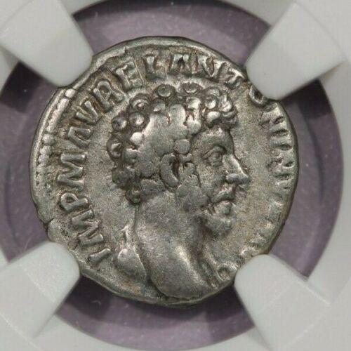 161-180 AD AR Denarius Roman Empire NGC Ch F Mar. Aurelius