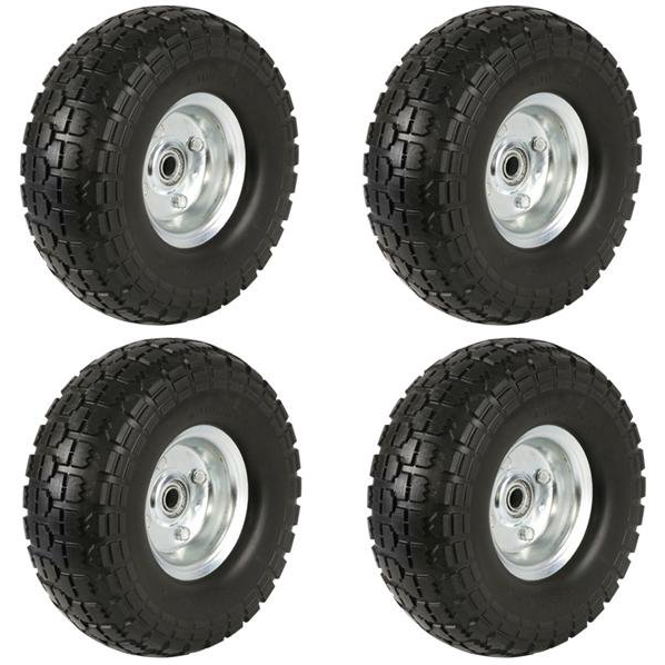 4-Pack Solid Rubber Replacement 10 Inch Wheels Garden Wagons
