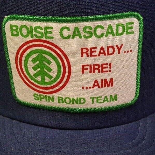 3cb971d2581 Vintage 80s Boise Cascade Mesh BIG Patch Snapback Trucker Hat K-PRODUCTS USA .