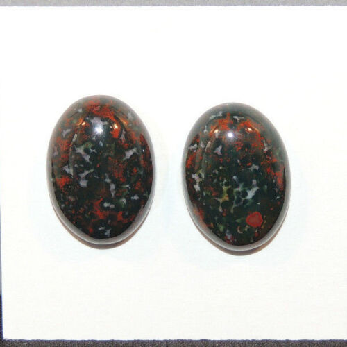 Bloodstone Cabochons 13x18mm with 6mm dome from India set of 2 (13495)