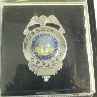 Obsolete New Ira Green Silver Special Security Officer Badge Shield Nc Seal 4h1