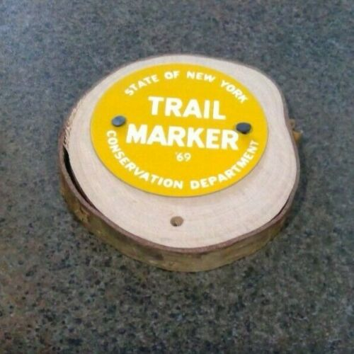 """TRAIL MARKER Round Yellow """"Sign"""" New York State Conservation Dept."""