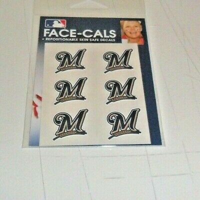 MLB MILWAUKEE BREWERS 6 TEMPORARY FACE TATTOOS FACE-CALS FAST FREE SHIPPING