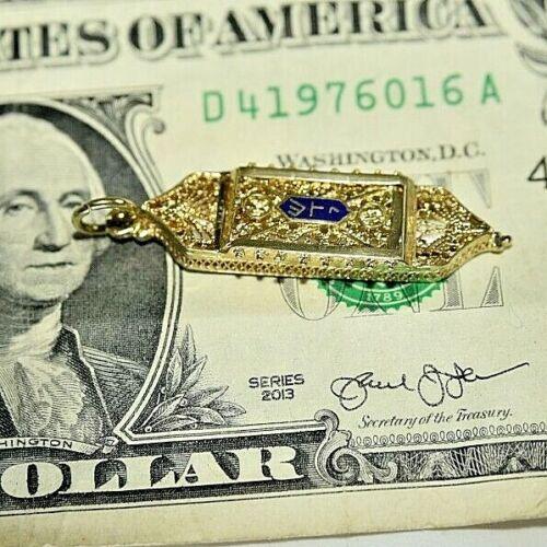 14 Karat Solid Gold Mezuzah Pendant  Charm  w/ Scroll Front Opens Retro 1960s ?