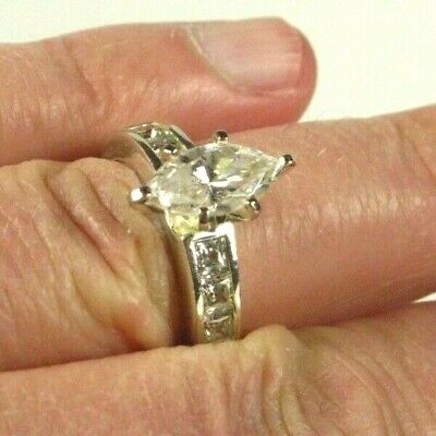 Sterling Large Marquise & Princess Cut White Sapphire Ring Size 8 Silver 925