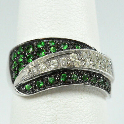 14K WHITE GOLD  EMERALD & DIAMOND WAVE RING 5.0 GRAM / SIZE - 14k White Gold Wave