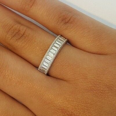 2 Ct Baguette Eternity Endless Anniversary Ring Band 14K Solid White Gold SIZE (Anniversary Eternity Band Ring)