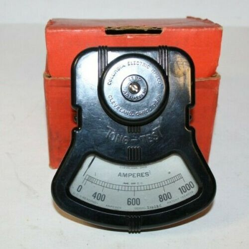 COLUMBIA ELECTRIC Mfg. VINTAGE AMMETER TONG-TEST 0-1000 AMPERES steam punk