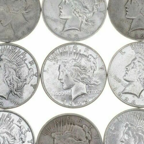 (5) US American Peace Silver Dollars 1922-1925 - Eagle Rev 90% $5 Face 1/4 Roll