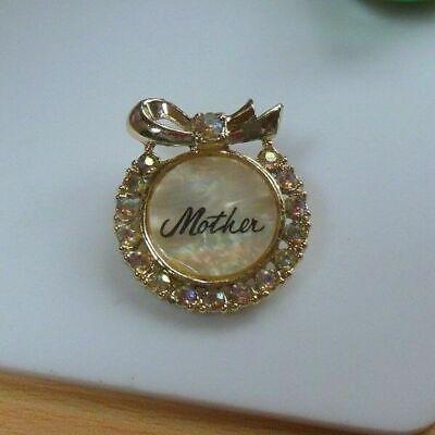 Vintage Mother Of Pearl Aurora Borealis Rhinestone Wreath Brooch/Pin Mother