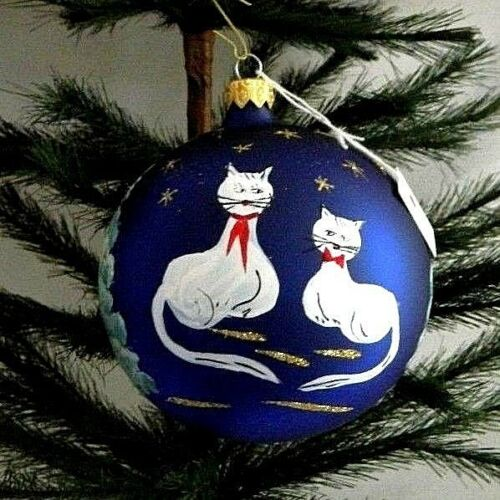 2 Cats Moonlit Night Translucent Blue Ball Blown Glass Christmas Ornament Poland