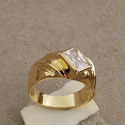 Men's Yellow Gold Plated Clear Princess Cut CZ Solitaire Ring Size 11.5 New